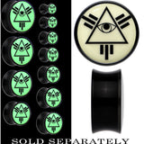 Glow in the Dark All Seeing Eye Saddle Plug in Black Acrylic