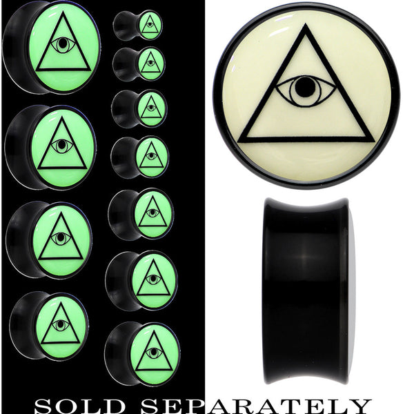 Glow in the Dark Plain All Seeing Eye Saddle Plug in Black Acrylic