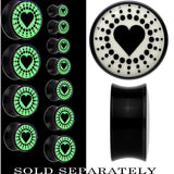 Glow in the Dark Day and Night Heart Spheres Black Acrylic Plug