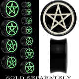 Magic Pentagram Glow in the Dark Saddle Plug in Black Acrylic