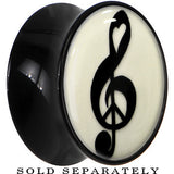 Treble Clef Peace Glow in the Dark Saddle Plug in Black Acrylic