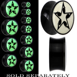 Eighth Note Star Glow in the Dark Saddle Plug in Black Acrylic