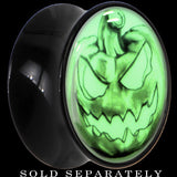 Bad Jack O' Lantern Glow in the Dark Saddle Plug in Black Acrylic
