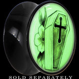 Coffin and Flower Glow in the Dark Saddle Plug in Black Acrylic