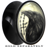 Raven and Cross Glow in the Dark Saddle Plug in Black Acrylic