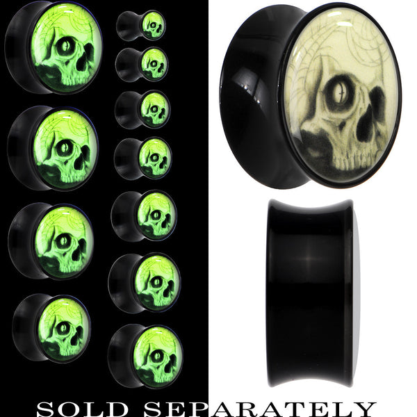 Webbed Skull Glow in the Dark Saddle Plug in Black Acrylic