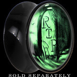 RIP Tombstone Glow in the Dark Saddle Plug in Black Acrylic
