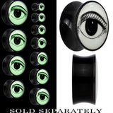 Arty Open Eye Glow in the Dark Saddle Plug in Black Acrylic