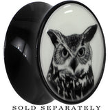 Arty Horned Owl Glow in the Dark Saddle Plug in Black Acrylic