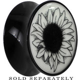 Arty Sunflower Glow in the Dark Saddle Plug in Black Acrylic