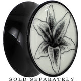 Arty Lily Flower Glow in the Dark Saddle Plug in Black Acrylic