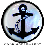 Nautical Anchor Mother of Pearl Saddle Plug in Black Acrylic