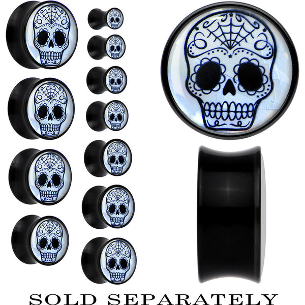 Sugar Skull Mother of Pearl Saddle Plug in Black Acrylic