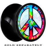 Tie Dye Peace Sign Mother of Pearl Saddle Plug in Black Acrylic