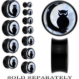 Owl on Moon Mother of Pearl Saddle Plug in Black Acrylic