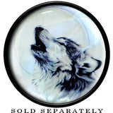 Howling Wolf Mother of Pearl Saddle Plug in Black Acrylic