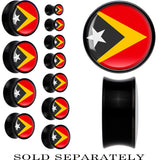 Timor-Leste Flag Black Acrylic Saddle Plug
