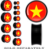 Vietnam Flag Black Acrylic Saddle Plug
