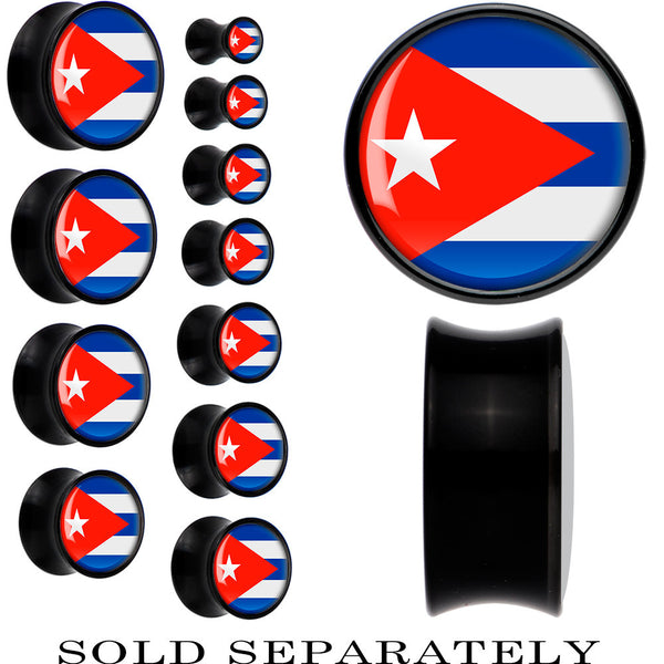 Cuba Flag Black Acrylic Saddle Plug