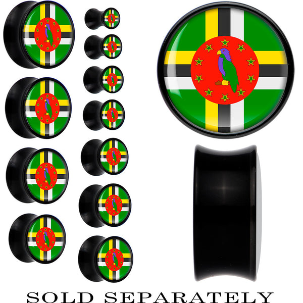 Dominica Flag Black Acrylic Saddle Plug