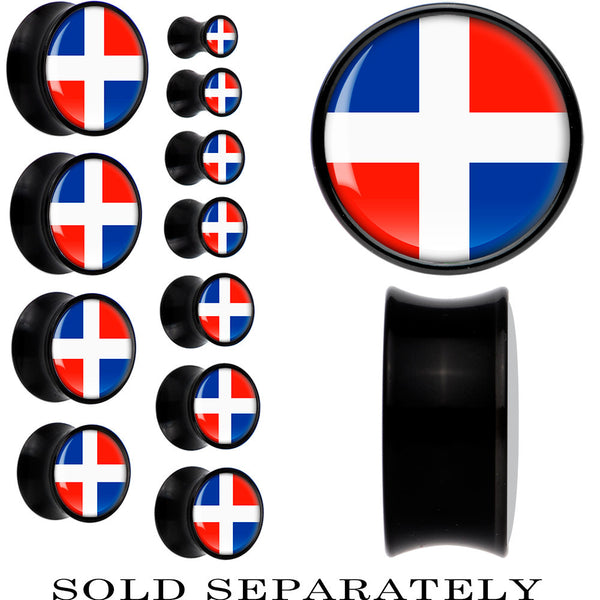 Dominican Republic Flag Black Acrylic Saddle Plug