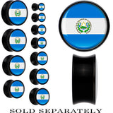 El Salvador Flag Black Acrylic Saddle Plug