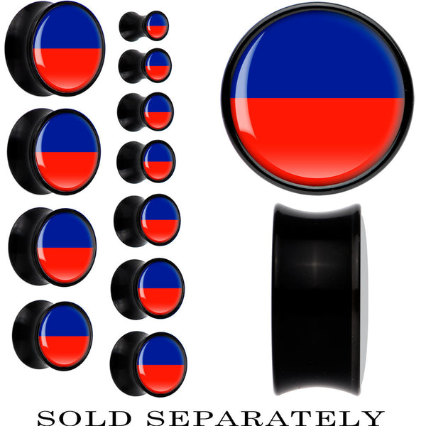 Haiti Flag Black Acrylic Saddle Plug
