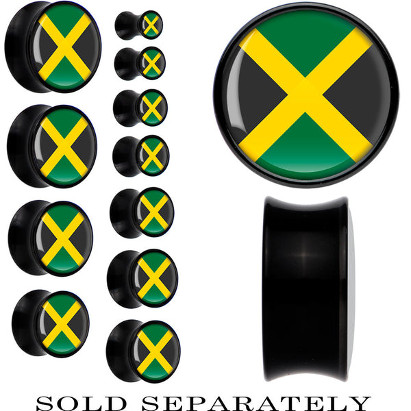 Jamaica Flag Black Acrylic Saddle Plug