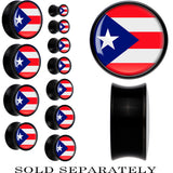 Puerto Rico Flag Black Acrylic Saddle Plug