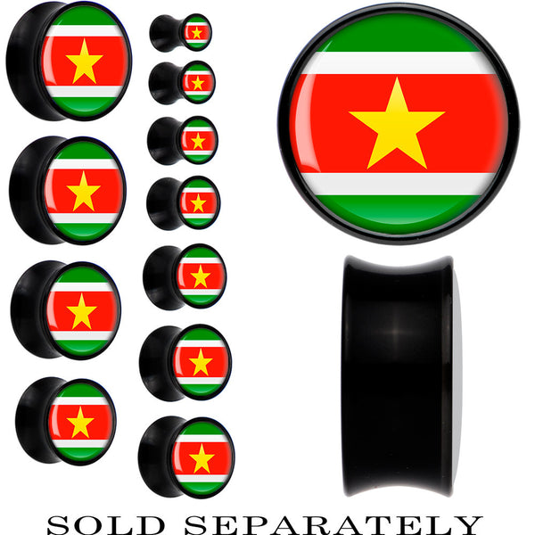 Suriname Flag Black Acrylic Saddle Plug