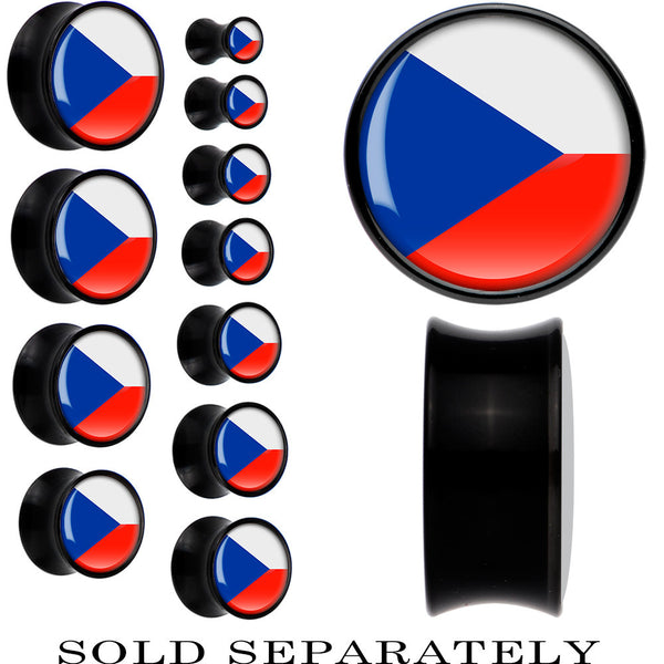 Czech Republic Flag Black Acrylic Saddle Plug