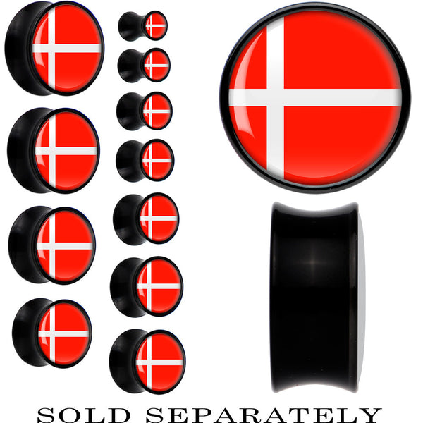 Denmark Flag Black Acrylic Saddle Plug