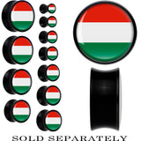 Hungary Flag Black Acrylic Saddle Plug