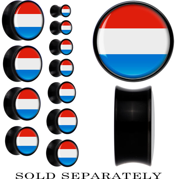 Luxembourg Flag Black Acrylic Saddle Plug