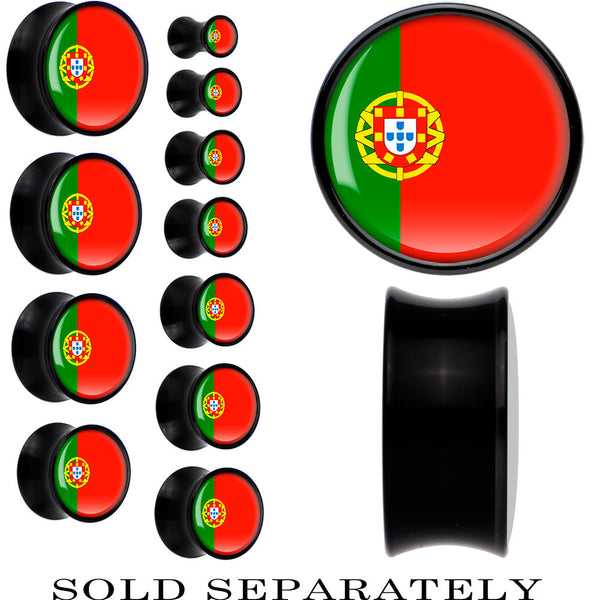 Portugal Flag Black Acrylic Saddle Plug