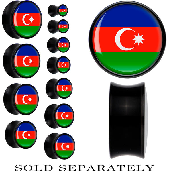 Azerbaijan Flag Black Acrylic Saddle Plug