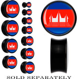 Cambodia Flag Black Acrylic Saddle Plug