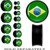 Brazil Flag Black Acrylic Saddle Plug