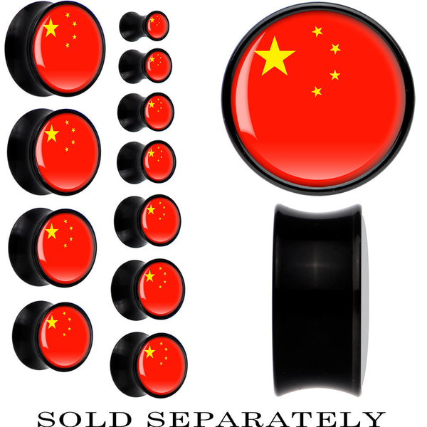 China Flag Black Acrylic Saddle Plug