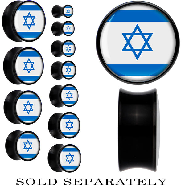 Israel Flag Black Acrylic Saddle Plug