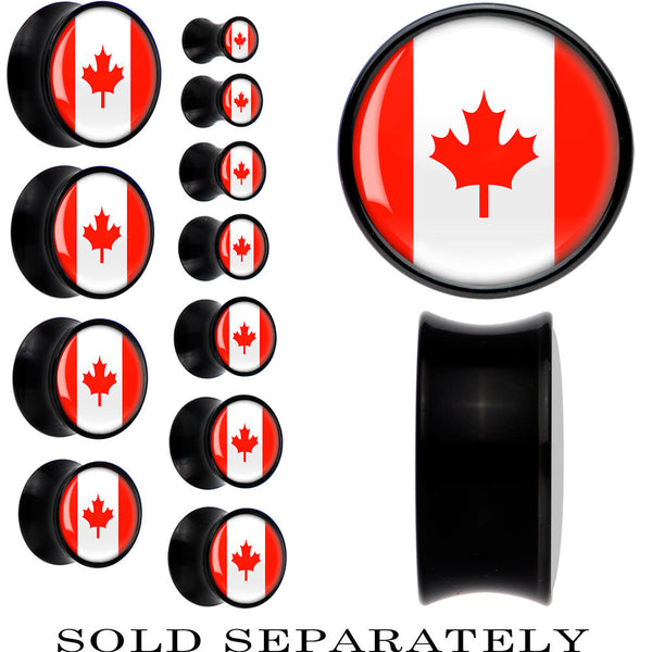 Canada Flag Black Acrylic Saddle Plug
