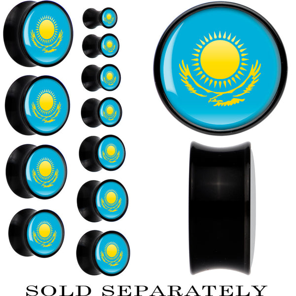 Kazakhstan Flag Black Acrylic Saddle Plug