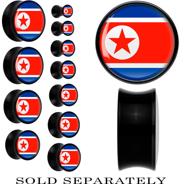North Korea Flag Black Acrylic Saddle Plug