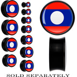 Laos Flag Black Acrylic Saddle Plug