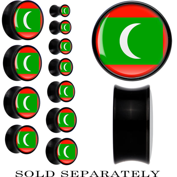 Maldives Flag Black Acrylic Saddle Plug