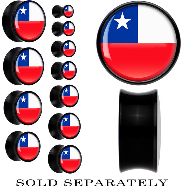 Chile Flag Black Acrylic Saddle Plug