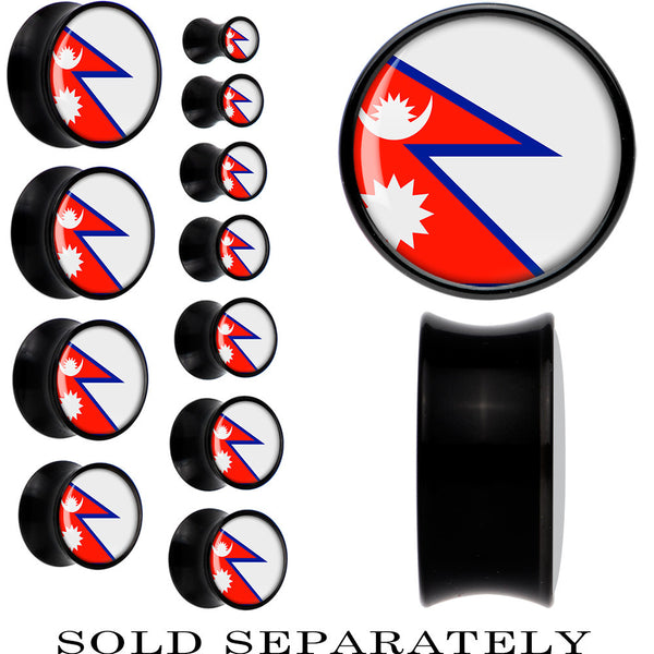Nepal Flag Black Acrylic Saddle Plug