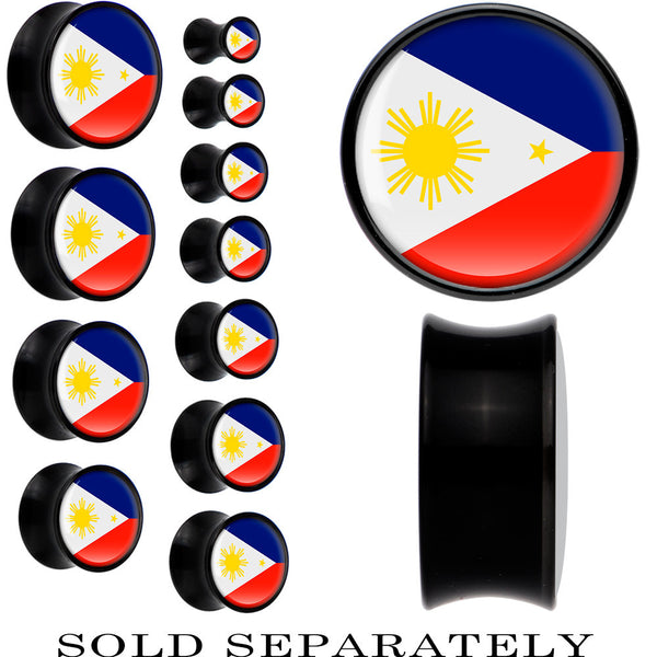 Phillippines Flag Black Acrylic Saddle Plug