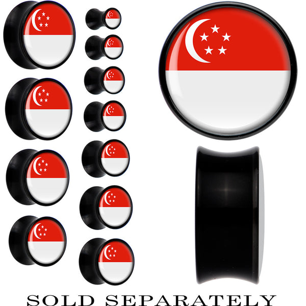 Singapore Flag Black Acrylic Saddle Plug