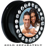 Black Acrylic Custom Photo Gem Screw Fit Plug